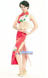 Chinese Qipao Style Fan Dancing Performance Costumes for Women