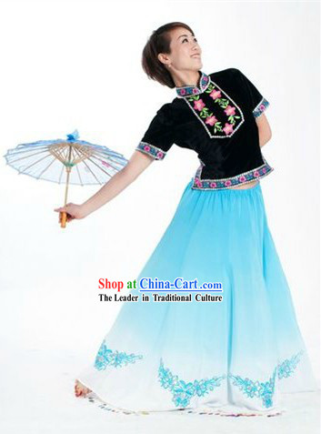 Chinese Umbrella Dancing Costume and Umbrella for Women