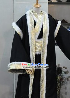 Ancient Chinese Black Winter Clothes for Men