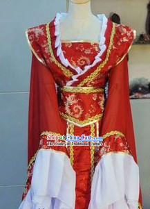 Ancient Chinese Red and White Wedding Dress for Brides