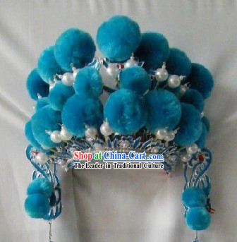 Chinese Peking Opera Blue Seven Stars Helmet for Kids