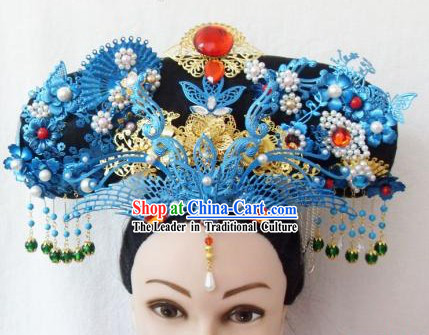Qing Dynasty Empress Handmade Phoenix Hair Accessories Hat