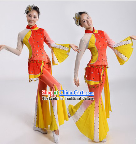 Chinese Fan Dancing Costume and Headpiece for Women