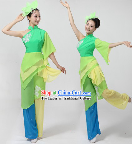Chinese Yangge Dancing Costume and Headpiece for Women