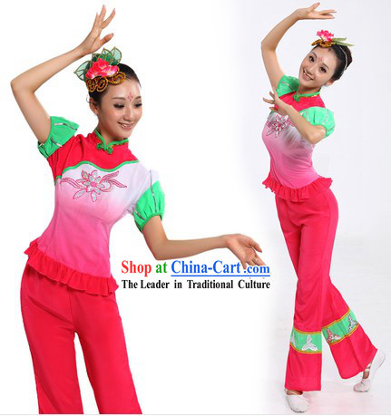 Chinese New Year Dance Costume and Headpiece for Women
