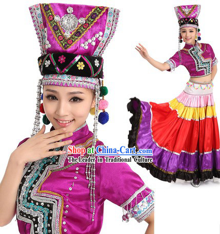 Chinese Yi Minority Dance Costume and Headpiece for Women