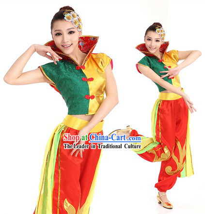 Chinese Drummer Dance Costume and Headpiece for Women