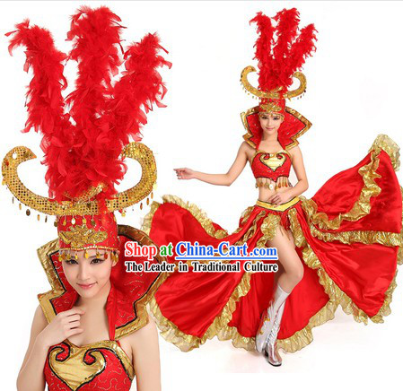 Grand Opening Dancing Costumes and Headpiece for Women