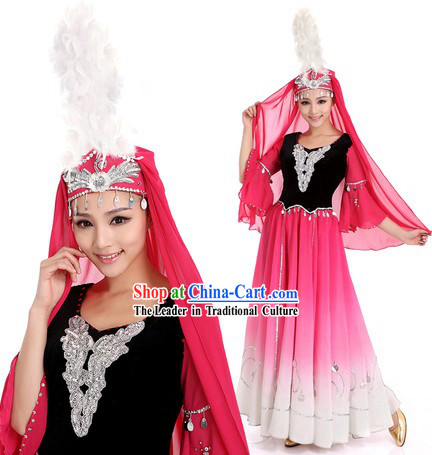 Xinjiang Uyghur Nationality Clothes and Hat for Women