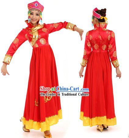 Red Mongolian Dance Costume and Hat for Women