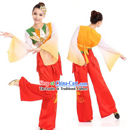 Flower Fan Dancing Costume and Hair Accessories for Women