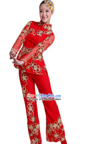 Traditional Chinese Red Dance Costumes and Headpiece for Ladies
