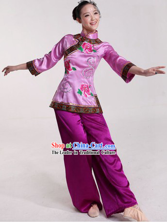 Chinese Classical Fan Dance Costumes and Headpiece for Ladies