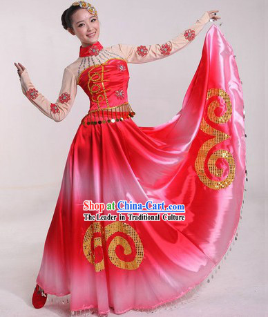 Chinese Classical Stage Performance Dance Skirt Costumes and Headpiece for Ladies