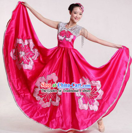 Chinese Pink Flower Dance Costumes and Headpiece for Women