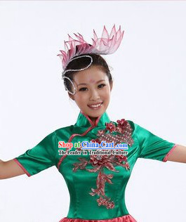 Chinese Stage Performance Dance Costumes and Headpiece for Women