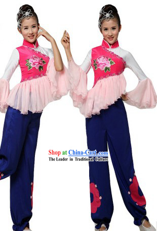 Chinese Clasical Stage Performance Yangge Dance Costumes and Headpiece for Women