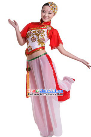 Traditional Chinese Fan Dancing Costumes and Headpiece for Ladies