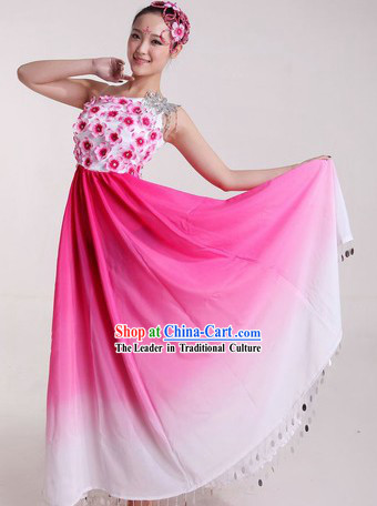 Chinese Pink Flower Dancing Costumes and Headpiece for Ladies