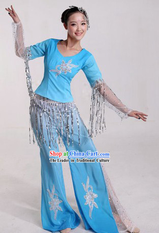 Chinese Blue Fan Dance Costumes and Headpiece for Ladies