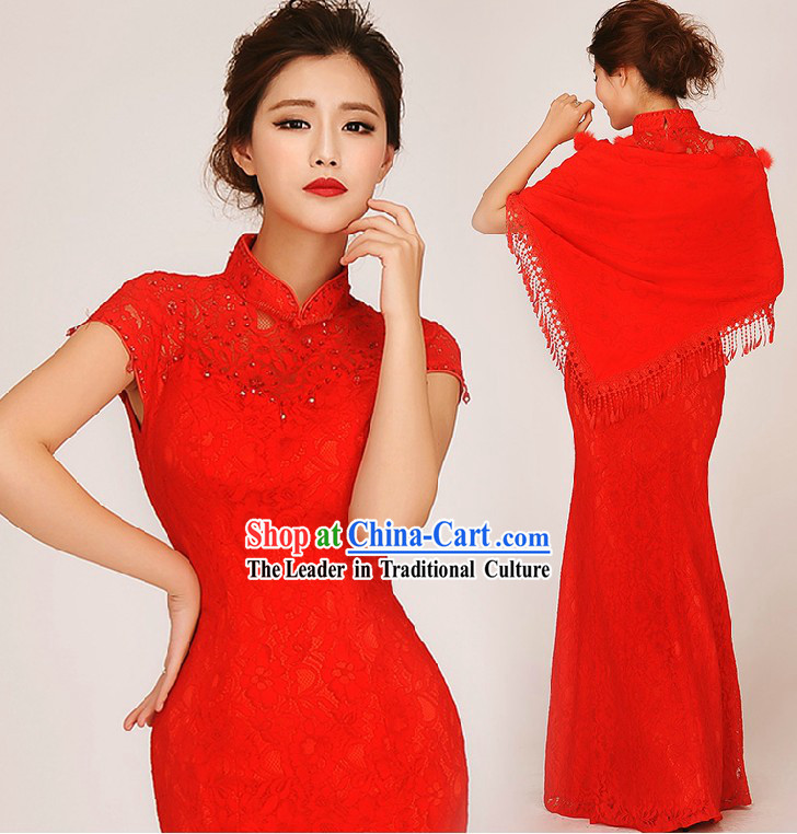 Traditional Red Fish Tail Cheongsam Wedding Dress for Brides