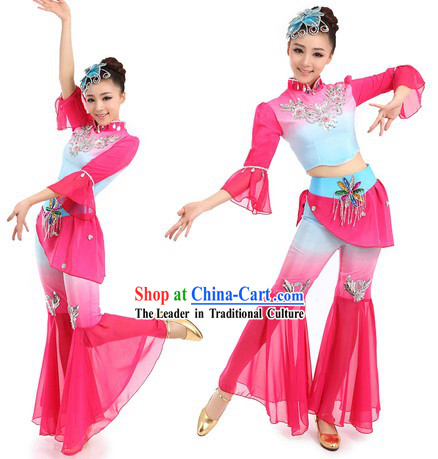 Chinese Classic Yangge Dance Costumes and Headpiece for Kids