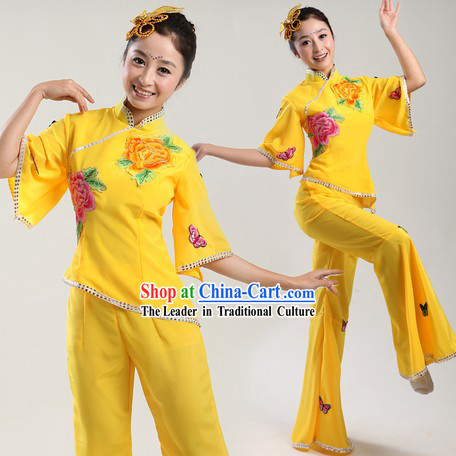 Chinese Classic Yellow Yangge Dance Costumes and Headpiece for Kids