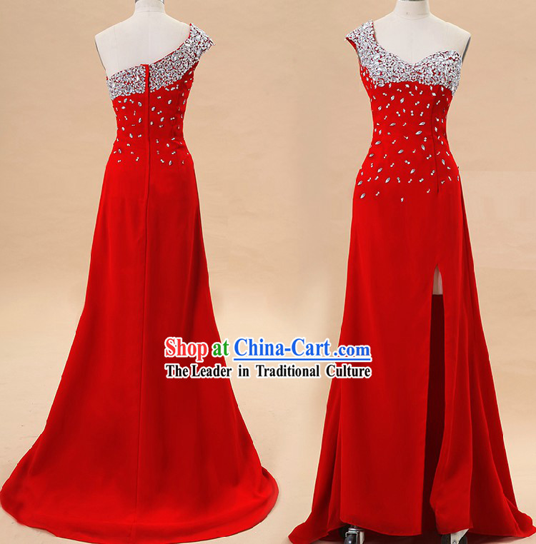 Chinese Style One Shoulder Modern Wedding Dress for Brides
