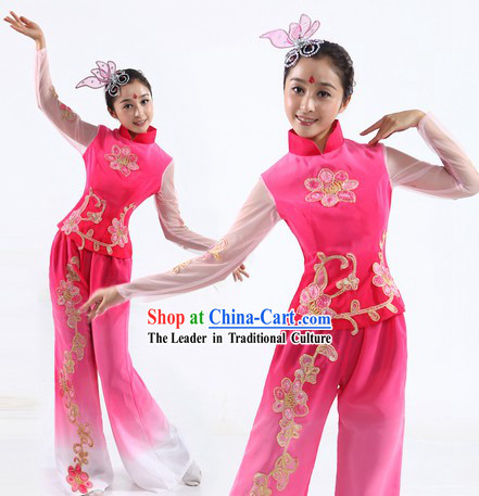 Chinese Classic Flower Fan or Ribbon Dance Costumes and Headpiece for Women