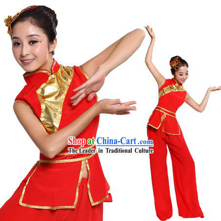 Chinese Fan or Ribbon Dance Costumes and Headpiece for Women