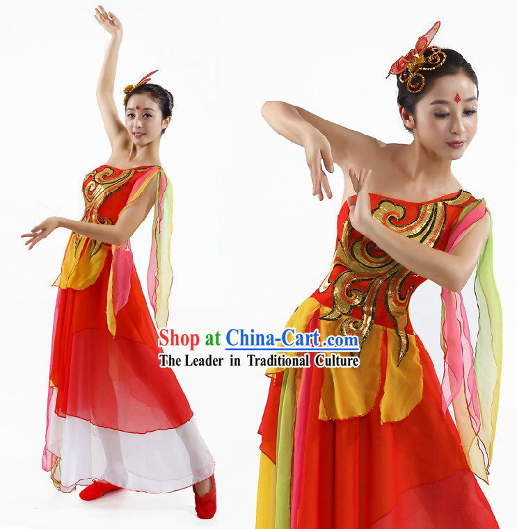 Chinese Classical Fan or Ribbon Dance Costumes and Headpiece for Women
