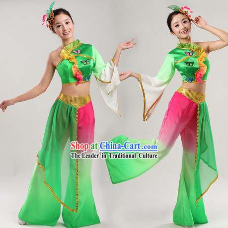 School Fan or Ribbon Dance Costumes and Headpiece for Women