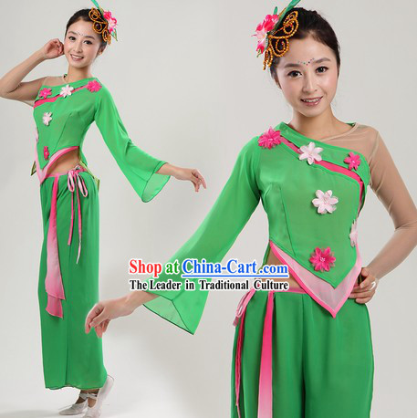 Chinese Style Green College Fan or Ribbon Dance Costume and Headpiece for Women
