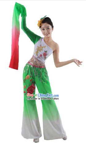 One Shoulder Long Sleeve Dance Costume and Headpiece for Women