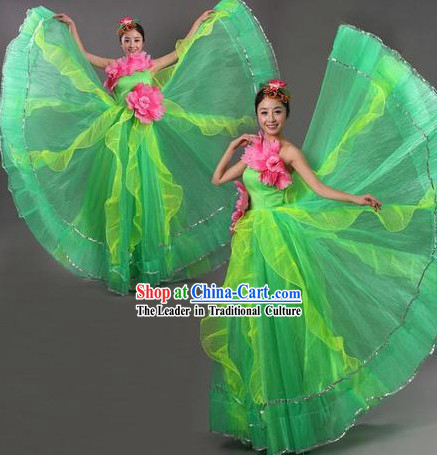 Chinese Opening Green Lotus Dance Costume and Headpiece for Women