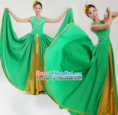 Chinese Classic Green Dance Costume and Headpiece for Women