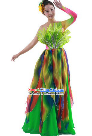 Chinese Classical Rainbow Dance Costumes and Headpiece for Women