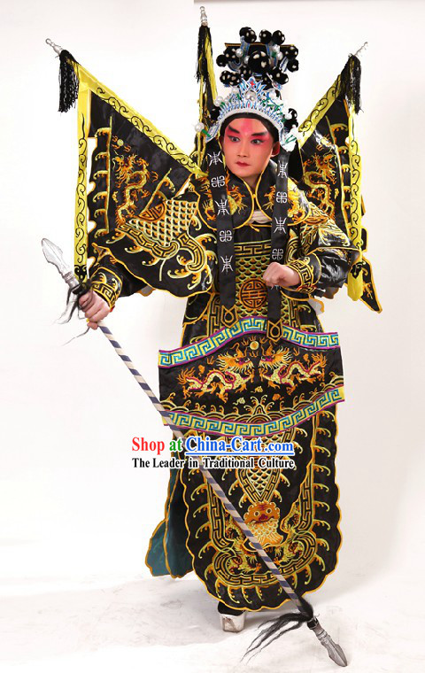 Chinese Opera Embroidered Wusheng General Armor Costumes and Helmet for Men