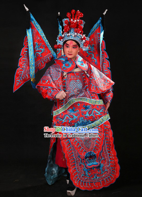 Chinese Opera Embroidered Wu Sheng General Armor Costume and Helmet for Men