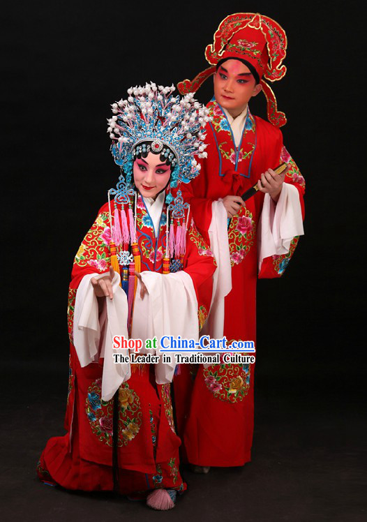 Traditional Chinese Embroidered Flower Wedding Dress Two Sets for Men and Women