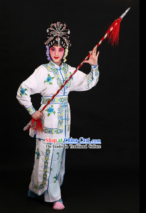 Traditional Chinese Peking Opera Wu Dan White Classical Dance Costume for Women