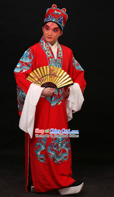 Red Chinese Imperial Embroidered Emperor Dragon Robe and Hat for Men