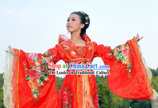 Ancient Chinese Red Peony Wedding Clothes for Women