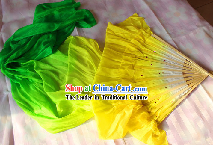Chinese Yellow to Green Colour Transition Long Silk Dance Fan