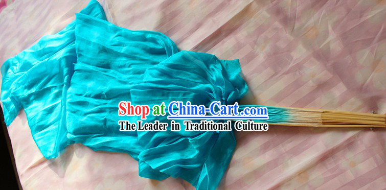 Chinese White to Blue Colour Transition Long Silk Fan Veils