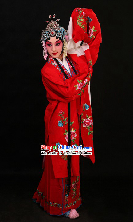 Chinese Peking Opera Huadan Long Sleeve Costume and Skirt for Women