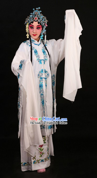 Chinese Peking Opera Qing Yi Faithful Wife Bai Suzhen Costumes for Women
