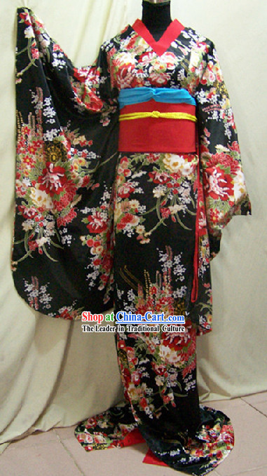 Traditional Japanese Geisha Kimono Costumes Complete Set for Women