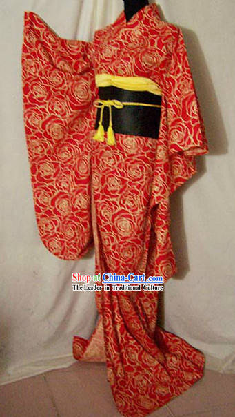 Traditional Japanese Rose Kimono Costume Complete Set for Women