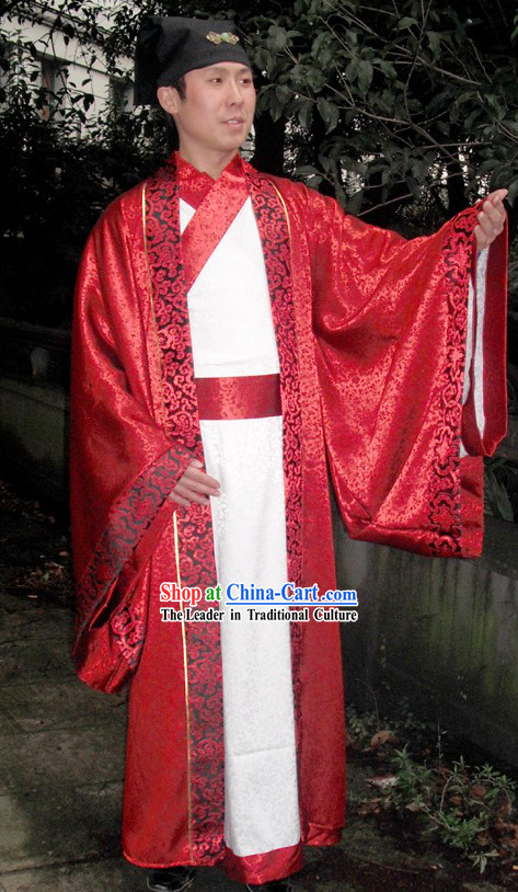 Ancient Chinese Red and White Wedding Dress for Bridegrooms